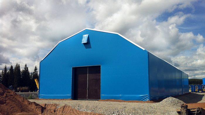 Blå tälthall 15 meter bred