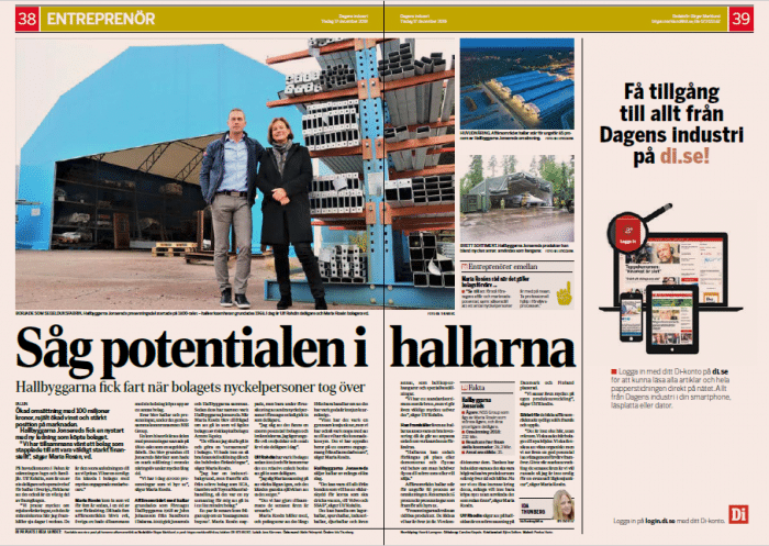 Hallbyggarna Dagens Industri artikel