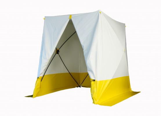 Portabelt arbetstält, 180x180 cm, i vit och gul färg