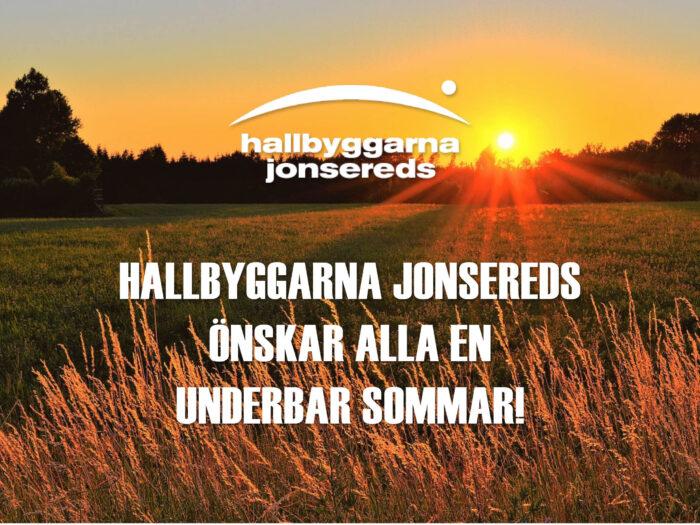 Sommarhälsning från Hallbyggarna Jonsereds. Solnedgång över åkerlandsskap
