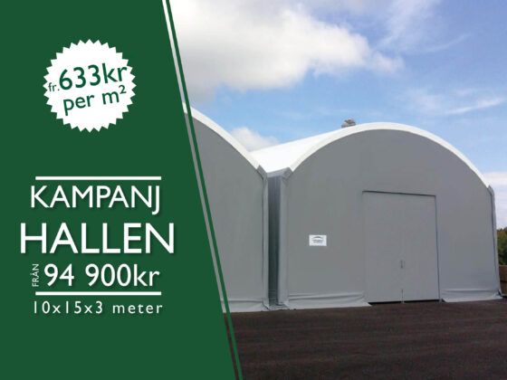 Kampanjhall - Grå hall med vitt tak till rabatterat pris