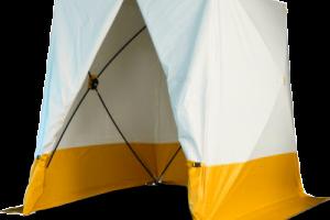 Lättmonterat arbetstält som mäter 210x210 cm. Vitt och gult