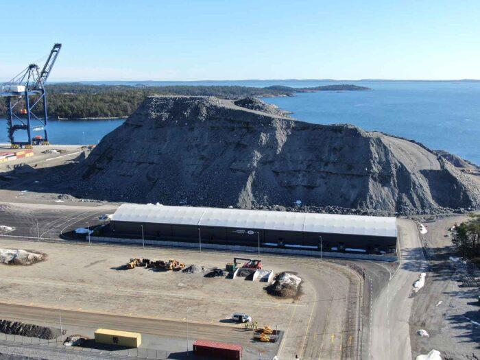 Euroglobe Shippings nya hamnterminal - Hall levererad från Hallbyggarna Jonsereds