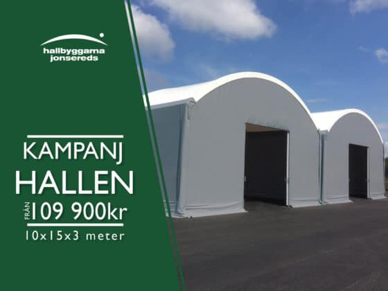 Erbjudande på Kampanjhallen - Hall 10x15x3 meter (150m²). Perfekt hall till många ändamål